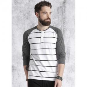 Roadster White & Gray Striped Regular Fit Henley T-Shirt