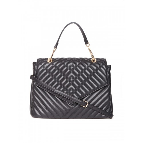 Mango Black Quilted Handheld Bag With Sling Strap