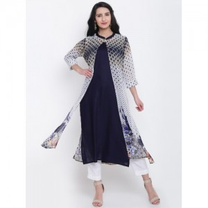 Shree Women Navy & White Layered A-Line Kurta