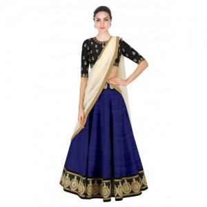 Blue Cotton Silk & Net Lace Work Lehengas