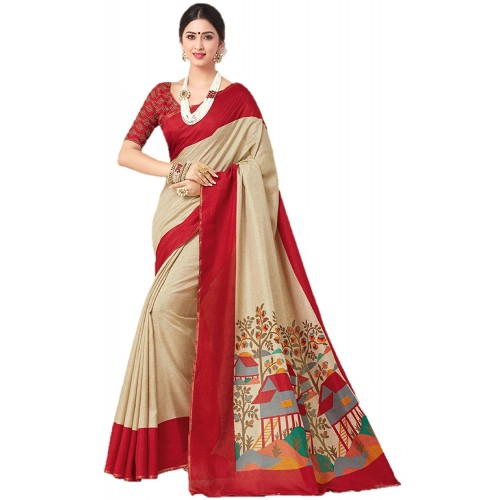 Meia Multicolor Malgudi silk Printed Saree With Blouse