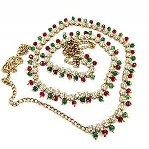 9blings Bollywood style enamel rhinestone cz gold plated jewellery saree waist b...