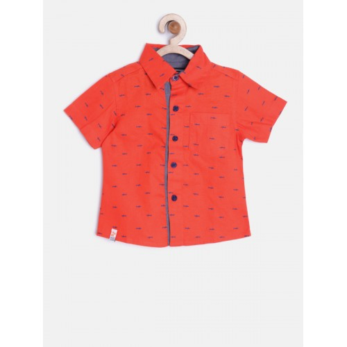 Nauti Nati Boys Red Printed Casual Shirt