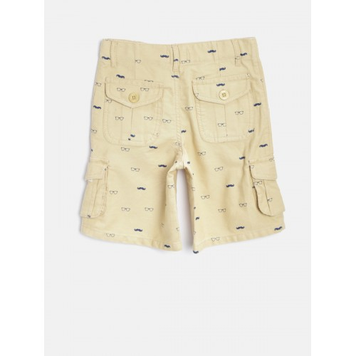 Nauti Nati Boys Beige Printed Cargo Shorts