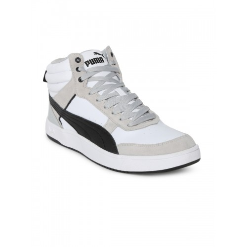 f41e97020ad640 ... Puma Men White Suede Mid-Top Rebound Street v2 IDP Sneakers ...