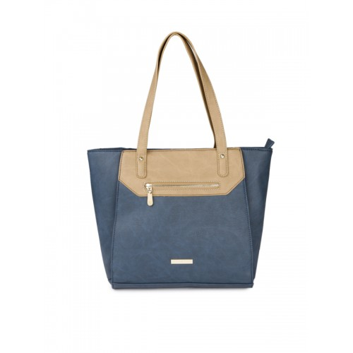 Addons Navy Blue Front Zip Panelled Tote Bag