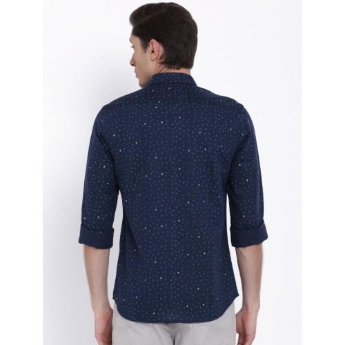 Lee Men Navy Blue Slim Fit Printed Casual Shirt