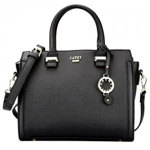 Cathy London Black Synthetic Leather Handbag
