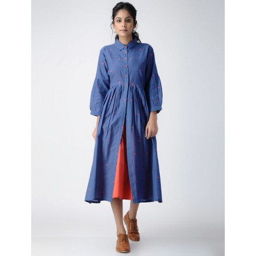 b992e50814e9c Buy Jaypore Blue Handloom Cotton Jacket Style Kurti online