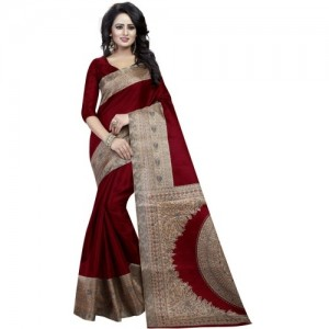 EKANTIK Maroon Silk Printed Bollywood Saree