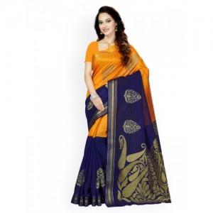 Ishin Orange & Blue Art Silk Woven Design Bhagalpuri Saree