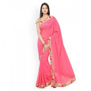Florence Pink Faux Georgette Saree