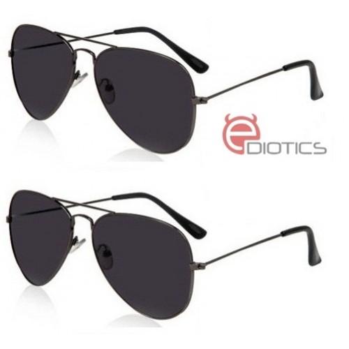 Ediotics Classic Black Aviator Style Designer Sunglasses for Men- Pack of 2