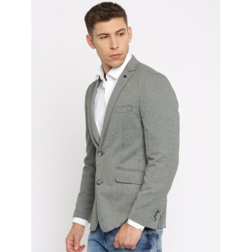 Jack & Jones Grey Self-Design Single-Breasted Casual Blazer