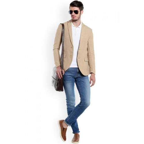 Jack & Jones Beige Single-Breasted Casual Blazer
