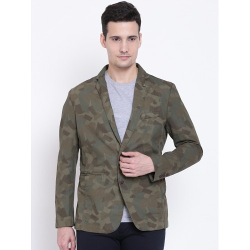 Jack & Jones Olive Green Printed Single-Breasted Casual Blazer