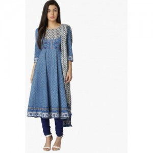 MAX Blue Printed Churidar Kurta Dupatta Set -3 Pcs.