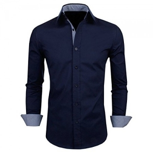 Zombom Navy Blue Full Sleeve Cotton Party wear Shirt