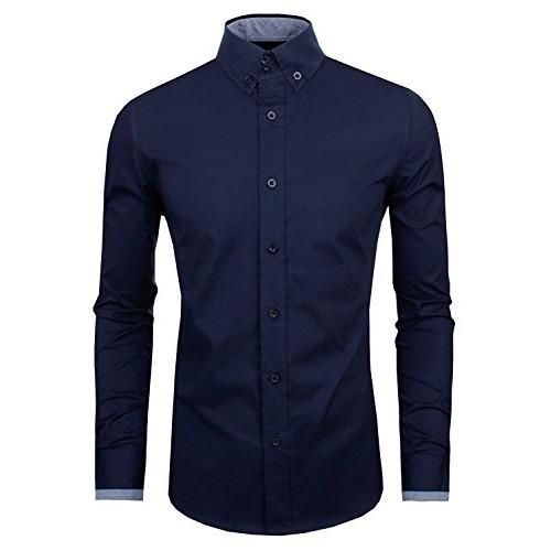 Zombom Navy Blue Full Sleeve Cotton Party wear Shirt