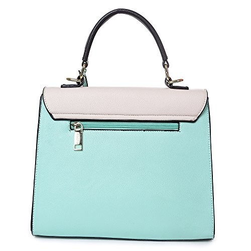 Cathy London Women's Handbag, Material- Synthethic Leather, Colour- Turquoise/Cream