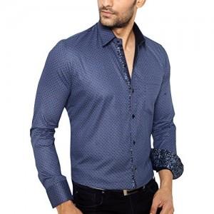 GlobalRang Blue Printed Partywear Shirt For Men Stylish