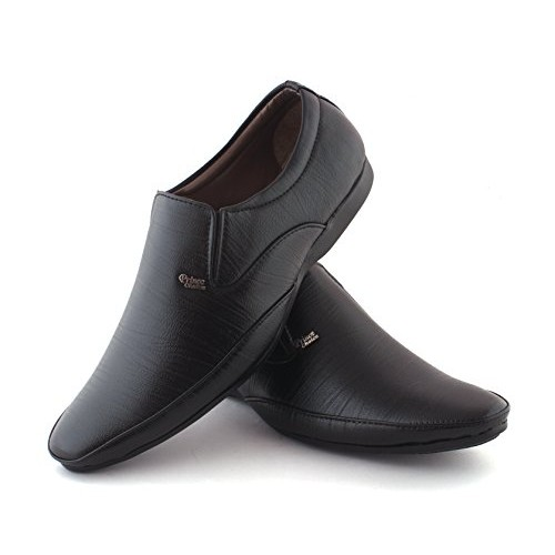 AORFEO Black Leather Slip On Formal Shoes
