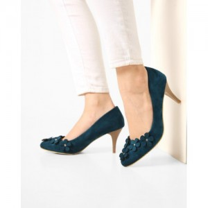 AJIO Teal Suede Pumps with Floral Embellishment