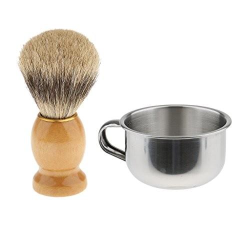 Buy Magideal Mens Wood Dense Hair Shaving Brush With Stainless Steel