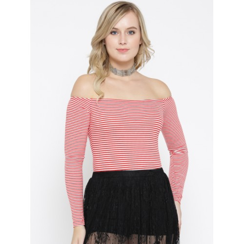 f542b43d1453ae Buy FOREVER 21 Red   White Striped Off-Shoulder Bodysuit online ...
