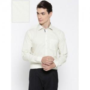 Blackberrys Men Yellow & Navy Blue Slim Fit Printed Formal Shirt