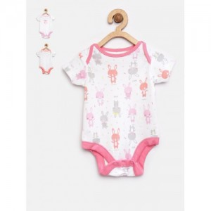 mothercare Girls Pack of 3 Off-White Bodysuits