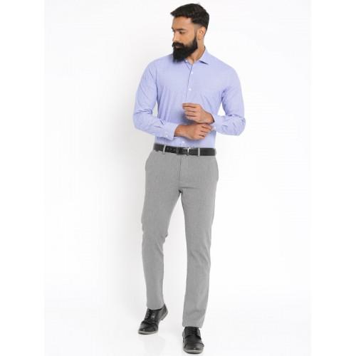 Raymond Men Blue Slim Fit Checked Formal Shirt