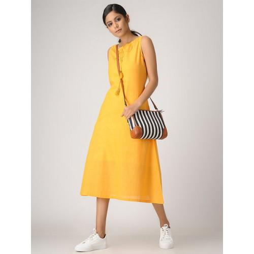 447fa0a5bd95 Buy JAYPORE Yellow Handloom Cotton Dress with Tassels online ...
