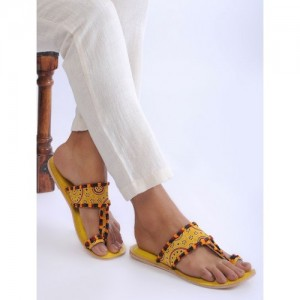 SANJIRO OF KUTCH Yellow Handcrafted Mashroo and Leather Flats