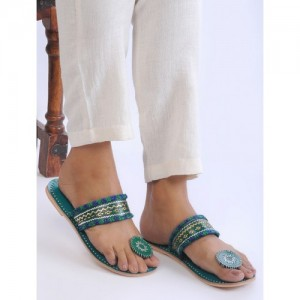 SANJIRO OF KUTCH Green Handcrafted Zari-Embroidered Leather Flats