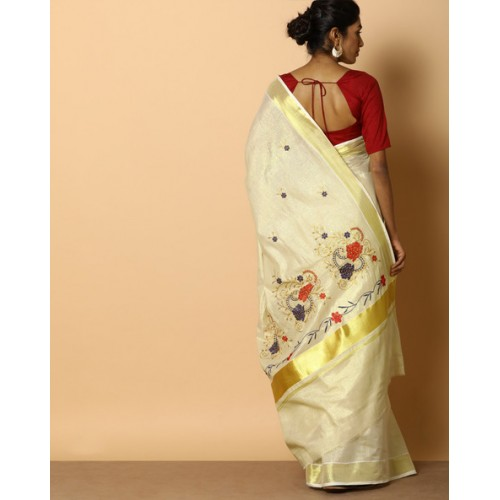 Cotton Kerala Kasavu Tissue Saree With Blouse