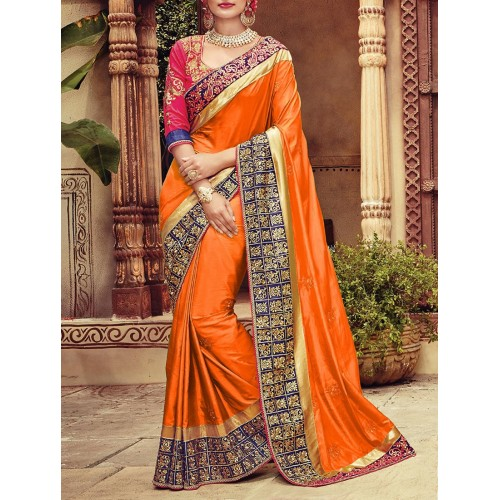 orange silk embroidered bordered saree