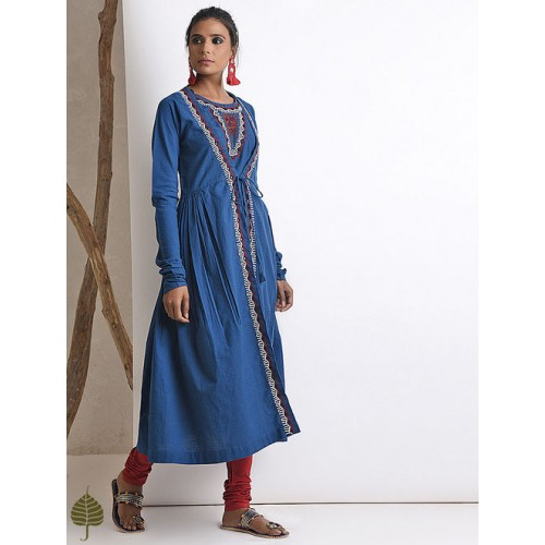 2615a772852 Buy JAYPORE Blue Hand-embroidered Handloom Cotton Angrakha Kurta ...