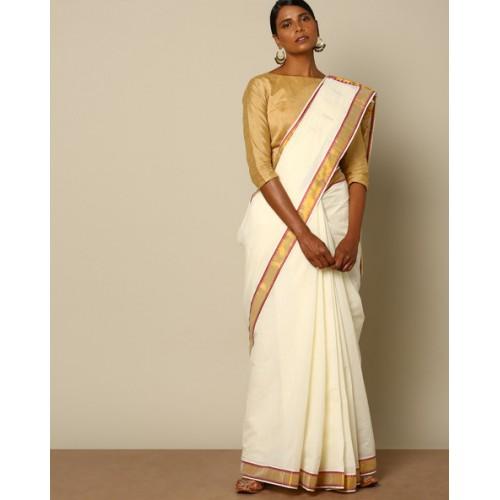 e822ad6de97ba8 Buy Indie Picks Kerala Kasavu Buti Cotton Saree with Brocade Pallu ...