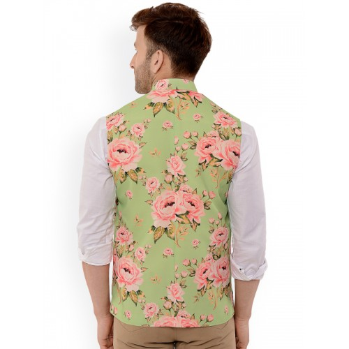 HANGUP Green Printed Nehru Jacket