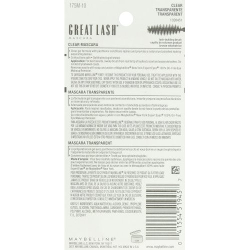c67af89769b ... Maybelline New York Great Lash Clear Mascara for Lash and Brow 110 0.44  Fluid Ounce ...