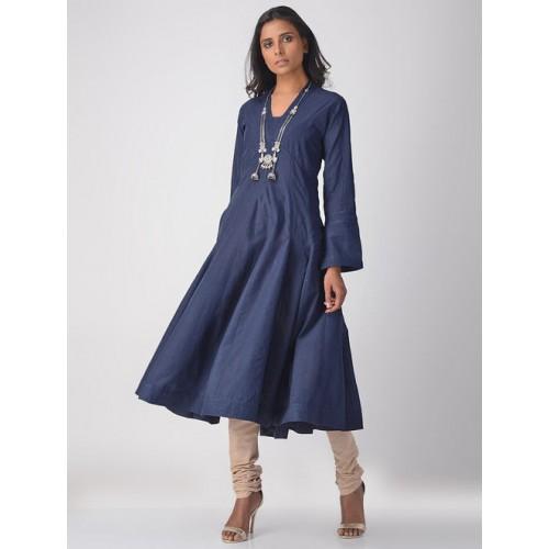 126ec58b070c5 Buy JAYPORE Blue Handloom Cotton Kalidar Solid Kurta online ...