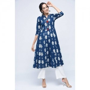 Stylum White & Blue Cotton Casual Block Print Women Kurti