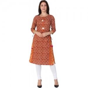 Gulmohar Jaipur Red Printed Straight Kurta