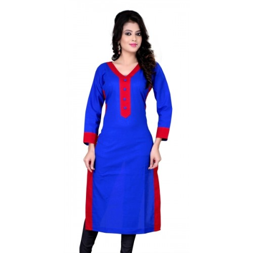 KUKI Blue Cotton Solid Kurti