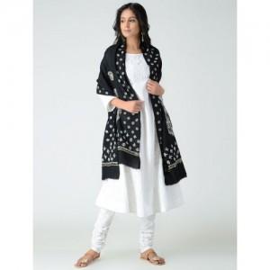 MITA DASS Black-Ivory Chikankari Wool Shawl