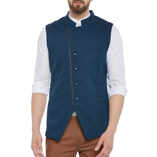 solid teal blue cotton waist coat