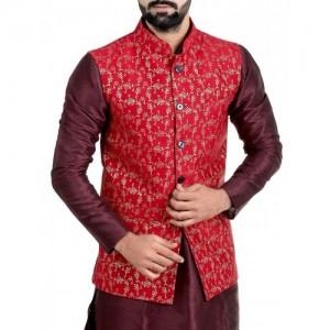red silk blend nehru jacket
