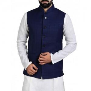 navy blue cotton blend nehru jacket