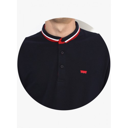 Levi's Navy Blue Solid Regular Fit Polo T-Shirt